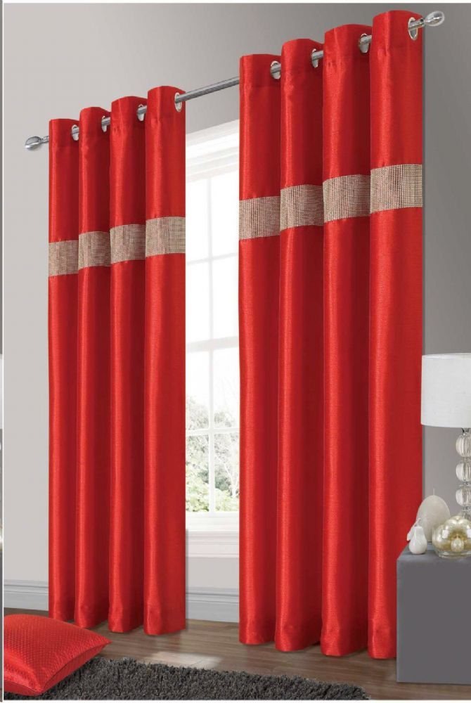 STYLISH ELEGANT DIAMANTE FAUX SILK RINGTOP EYELET FULLY LINED CURTAINS RED COLOUR